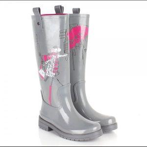 DKNY Gray Niagra Wellington Print Rain Tall Boots